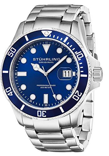 Stuhrling Original Aquadiver Regatta Espora Herren-Armbanduhr Analog Quarz Edelstahl - 417.03