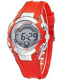 Niños impermeable Relojes deportivos de resina de verano Outdoor Digital Kids Relojes Rojo