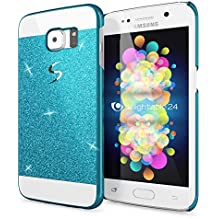 Samsung Galaxy S6 Edge Plus Funda Carcasa de NICA, Protectora Movil Purpurina Cubierta Dura Delgado Glitter Hard-Case, Bumper Cover Lentejuela Ultra-Fina para Telefono Samsung S6 Edge+ - Azul