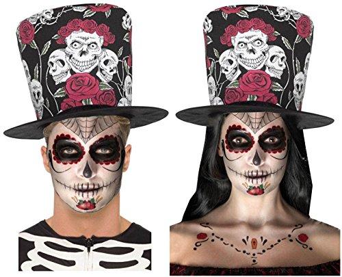 Tag der Toten Zuckerschädel Rose schwarz rot Zylinder + Tätowierungen/Make-up