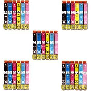 Prestige Cartridge Epson 24XL 30 Cartucce d'Inchiostro Compatibile per Stampanti Epson Expression Photo Serie, Nero/Ciano/Magenta/Giallo/Ciano Chiaro/Magenta Chiaro