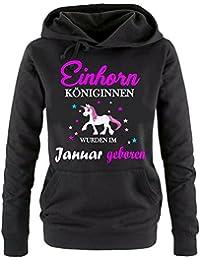 Einhorn Königinnen wurden im Januar geboren ! Unicorn Damen HOODIE Sweatshirt mit Kapuze Gr.S M L XL XXL schenken Birthday Party Feiern