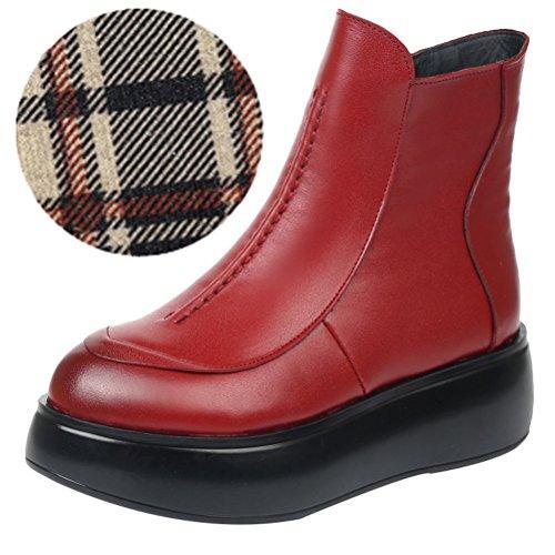Vogstyle Damen Flach Plattform Boots Rund Toe Plateau Stiefelette Style 2 Rot