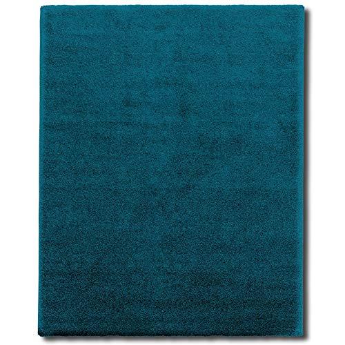 Tappeto shaggy moderno - pelo lungo, fitto, piatto, morbido | per interni, salotto, soggiorno, sala, camera | anti-scivolo in vari colori e misure - 160x230 cm - turchese