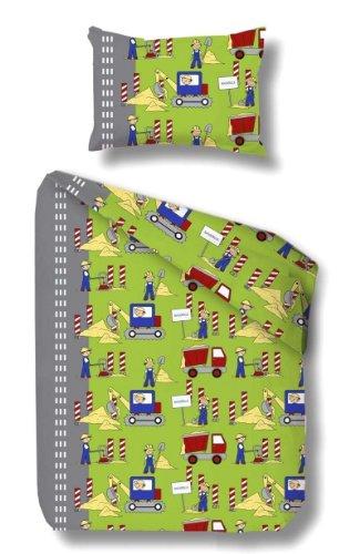 beties Biber Kinder Bettwäsche-Set Baustelle ca. 100x135 cm + 40x60cm warme Baumwolle für sensible Babyhaut