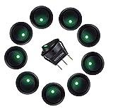 HOTSYSTEM 12V 20A Auto KFZ Runder Schalter Wippschalter Ein-Ausschalter mit grüner LED Anzeige Wechsel Switch Kippenschalter 10 Stück