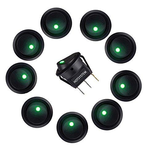 to KFZ Runder Schalter Wippschalter Ein-Ausschalter mit grüner LED Anzeige Wechsel Switch Kippenschalter 10 Stück (Rv-rocker Lichtschalter)
