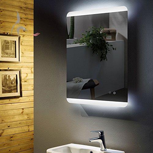 -Miroir de salle de bain avec éclairage LED et chauffage électrique anti-buée, pieds 60x80cm, montage horizontal et vertical, miroir de salle de bain éclairé en haut et en bas, classe énergétique A+