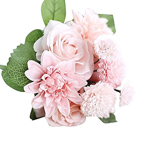 Artificial Flowers, Rcool Artificial Fake Silk Flower Leaf Rose Floral Wedding Party Home Bouquet Bridal Hydrangea Decoration Gift (Pink)
