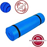 Easypro™ Fitness Non Slip Yoga Mat 7 mm - Longer And Wider Than Other Exercise Mats - Thick High Density Padding To Avoid Sore Knees During Pilates, Stretching & Toning Workouts - For Men & Women (Blue Color) Pattern#360