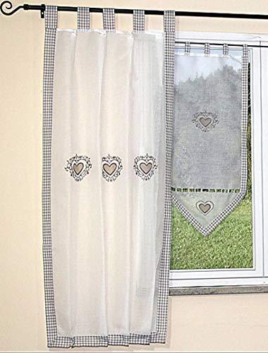 tischdecken-iris-shop GARDINEN Hossner Gardine Landhaus Kariert Applikation Stickerei Herz Schal Übergardine (Seitenschal 90x150 cm)
