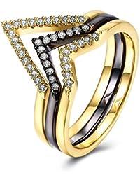 Epinki Jewelry Gold Plated Women Gold and Black Three Layer Ring Set Anniversary Bridal Wedding Band Ring
