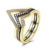 Gnzoe Schmuck Vergoldet Tri Farbe Damen Ringe V Form Trauringe Gold Schwarz Gr.54 (17.2)
