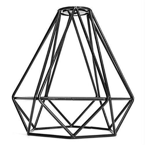 Pantalla de lámpara de estilo retro, estilo industrial, color negro, de metal, para colgar en el techo o en la pared, negro, 1 pieza