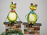 Gartenstecker 'Frosch auf Mauer', 30 cm, grün-braun