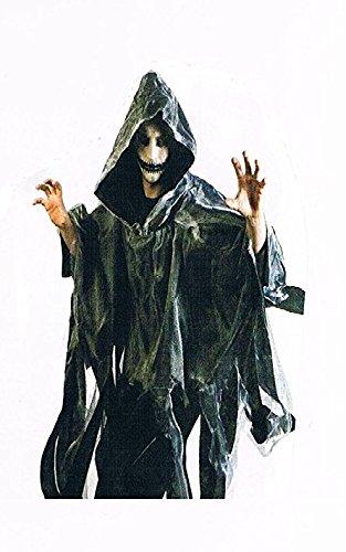-grau-Umhang-Kostüm-Halloween-für-Erwachsene-Maske-Zombi-Leiche-Kürbis-Gruseln-Scream-Blut-OneSize ()