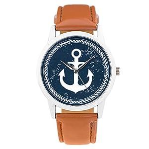 Taffstyle Quarzuhr mit PU Leder Armband und Anker in Maritim Vintage Style - Braun / Blau