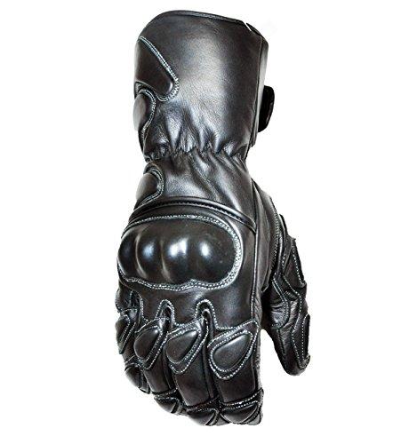 A STAR asi-m002groß Premium Robuste Rindsleder Leder Gauntlet Sport Biker Motorrad Handschuhe, Schwarz Gauntlet Handschuhe Motorrad