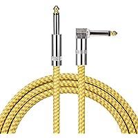 Asmuse Cable de Instrumento bajo Guitarra de ángulo Recto Profesional 3 m TS 1/4 Pulgadas 6.3 mm Tapones Brown Tweed Chaqueta 10 pies Silencioso para Eléctrica Keyboard to Amps (Amarillo)