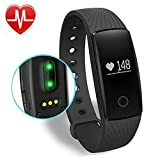 Fitness Tracker, AsiaLONG Fitness Armbänder mit Pulsmesser Bluetooth Fitness Armband Schrittzähler Aktivitätstracker Pulsuhr Armband mit SMS SNS Anrufe Push / Wecker / Schlaf-Monitor/ Kalorienzähler für Android iOS Handy