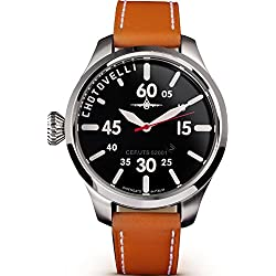 Chotovelli Pilot Aviator Men's Watch Analogue display Tan leather Strap 52.01
