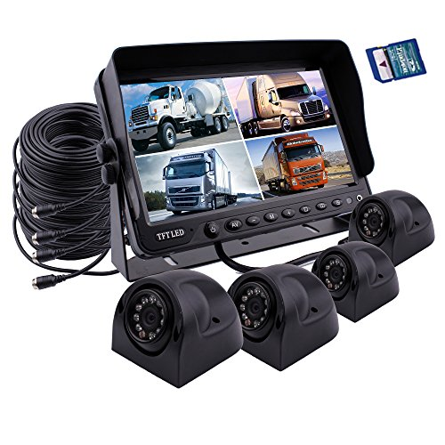 zhiren Auto Backup Kamera Sicherheit System 22,9 cm Monitor Eingebautes DVR Recorder mit Quad Split Screen Kamera System Kit für LKW, Van Camper Bus RV Quad Lcd-dvr