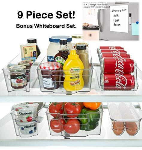 Storagemaid - Contenedores organizadores para refrigerador, apilables, sin BPA, para nevera, congelador, despensa, cocina, 9 piezas, incluye dispensador de latas y bandeja para huevos