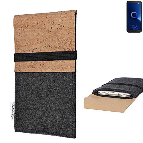 flat.design Handy Hülle SAGRES für Alcatel 1C Single SIM Made in Germany Handytasche Filz Tasche Schutz Case fair Kork