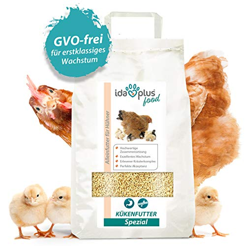 Ida Plus - Kükenfutter Spezial 5 Kg - Aufzuchtfutter mit hochwertiger Zusammensetzung für Hühner-Küken - Kükenstarter für exzellentes Wachstum & Perfekter Akzeptanz - GVO-Frei