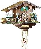 Trenkle Uhren Kuckulino Schwarzwalduhr Schweizerhaus mit drehenden Ziegen, Quarzwerk und Kuckuckruf TU 2020 SQ