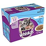 WHISKAS 2-12 Months Kitten Pouches Fish Selection in Jelly 12 x 100 g (Pack of 4 )