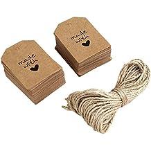Etiquetas de papel, 100unidades hecho con amor señal etiqueta de papel etiqueta de regalo con cordel para boda fiesta