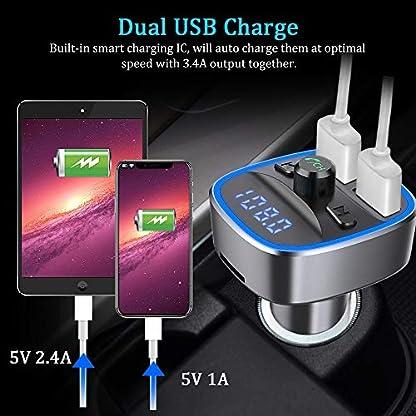 Bovon-Bluetooth-FM-Transmitter-Auto-Radio-Adapter-Auto-Ladegert-mit-2-USB-Anschlsse-und-Freisprecheinrichtung-mit-Blauem-Umgebungslicht-Untersttzt-TF-Karte-USB-Stick