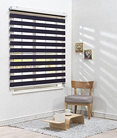 Store enrouleur occultant à rayures horizontales 260x 260cm, polyester & polyester mélangé, Violet, W110 x H240 (CM)