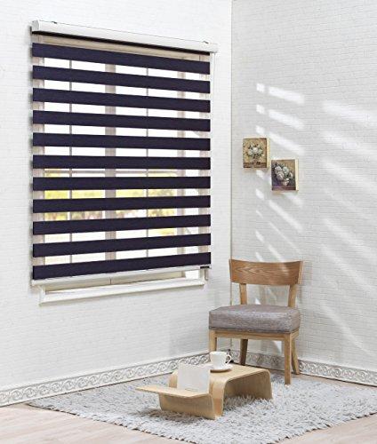 Winsharp Woodlook 150 Zebra-Rollo, Horizontal, Fenster, Jalousien-Bänder, 260cm breit, 260cm lang, zuschneidbar, Polyester-Mischgewebe, Violett, W150 x H150 (CM) Horizontal-jalousie
