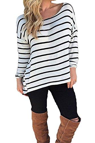 Yidarton Damen Rundhals Gestreift Stretch Basic T-Shirt Oberteile Langarmshirt Loose Bluse Tops (M / EU 38-40) (2 T-shirt Seiten-weißes)