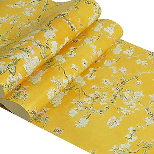 Zcxbhd Retro Amerikanischen Van Gogh Aprikosen Blume Vliestapete Luxus Aufkleber Für Schlafzimmer Wohnzimmer Eingang TV Hintergrund Dekoration 10 Mt X 0,53 Mt/Rolle (Color : Yellow)