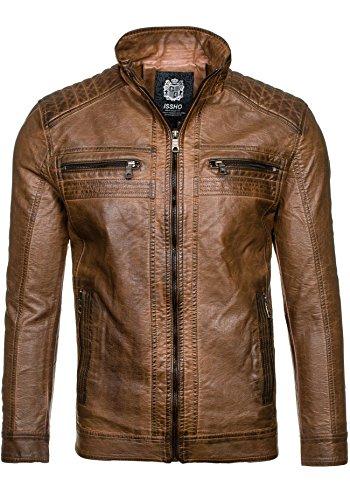 BOLF - Veste - Faux cuir - Fermeture éclair – ISSHO 1772A – Homme Marron
