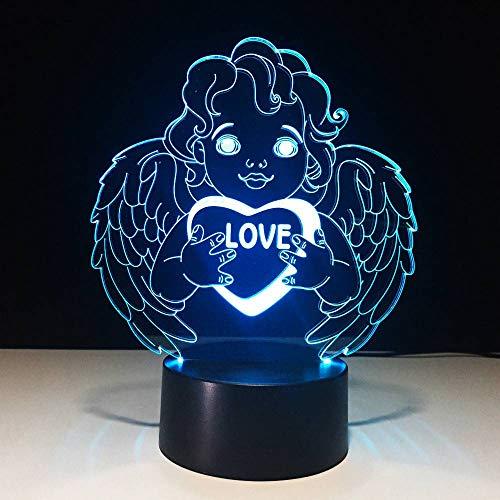 GBBCD Nachtlicht Geschenke Engel Led Lampe Usb Cherub Nachtlicht 3D Schreibtisch Tischlampe Schlafzimmer Nachttischlampe Schlaf Licht Valentinstag Dekor -