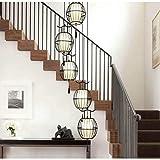 Ameuli Kronleuchter-Laterne Vogel Gusseisen Spirale Treppe Licht-Retro Villa Restaurant Beleuchtung Schalter Kronleuchter-Hängeleuchte,Schwarz