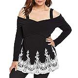 Lucky Mall Oberteil Damen Herbst Elegante Langarmshirts Damen Bluse Tunika T-Shirt V-Ausschnitt Tops