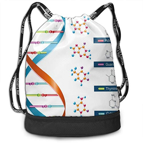 LULABE Printed Drawstring Backpacks Bags,DNA Bases Chemistry Biochemistry Biotechnology Science Spiral Symbol Genetic,Adjustable String Closure
