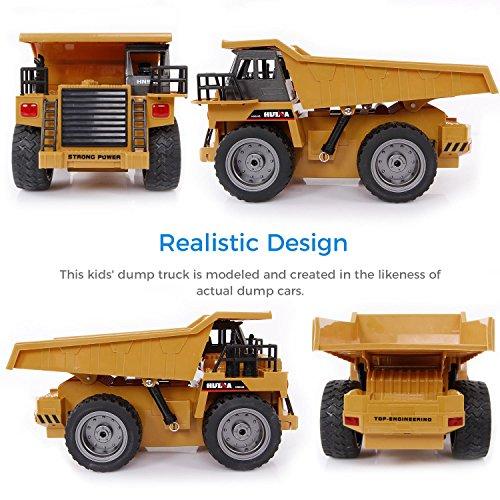 RC Baufahrzeug kaufen Baufahrzeug Bild 1: SGILE 6 Kanal RC Muldenkipper Spielzeug mit Licht und Sound, Fahrzeug mit 360° Grad Drehfunktion, Metallschaufel,2.4Ghz Wiederaufladbar Ferngesteuerter Raupenbagger Traktor*