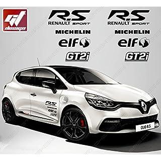 Aufkleber–Set Sticker Sponsoren RS R.S R S Renault Sport/Michelin/Elf/gt2i–Schwarz Matt Megane, Twingo, Captur, Clio, Clio RS, RS27, Megane RS, Laguna, Laguna Coupe, Wind, Kadjar, Zoé, Scenic, Montblanc Automaxi Kit, Talisman