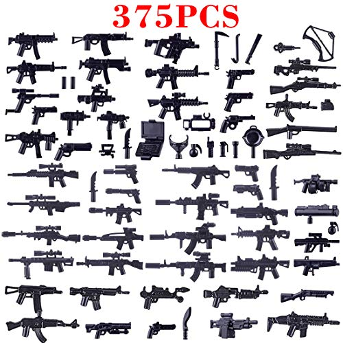 NURICH 375St. Custom Waffen Set für Mini Figuren SWAT Team Polizei Militär - Lego Set Militär