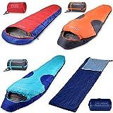 Schlafsack Polaris | Sommerschlafsack -7°C bis 10°C | Mumienschlafsack 210x75 cm | Deckenschlafsack orange-anthrazit