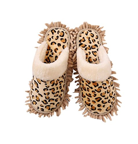 Leopard Lazy Wischen Pantoffeln Boden Glatte Sohlen Abnehmbarer Schuhputzer Hausschuhe (Leopard Lazy)