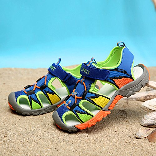 Juleya Sommer Strand Geschlossene Sandalen Klettverschluss Outdoor Wanderschuhe Ultraleicht Breathable Schuhe Flach Unisex Kinder Jungen Mädchen Blau