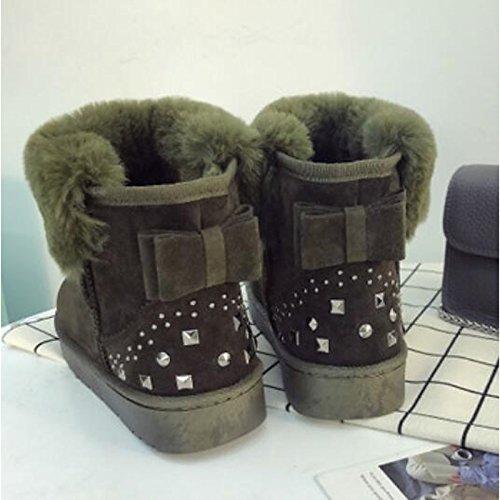 HSXZ Scarpe donna pu Autunno Inverno Comfort stivali Chunky tallone punta tonda Babbucce/stivaletti di abbigliamento casual rosa grigio verde nero Green