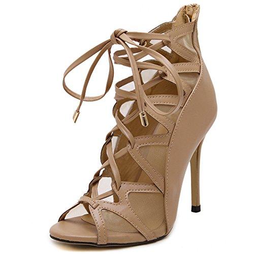 Shoemaker's heart Europa e la nuova Roma Bocca di pesce scarpe tacco femmina cinturino sandali Sexy cavo nero ad alta Thirty-nine